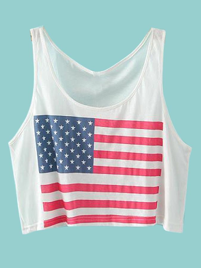 a9b2fca8 Choies White Crop Top T Shirt With America Flag Print, $9 | Choies |  Lookastic.com