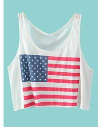 Choies White Crop Top T Shirt With America Flag Print