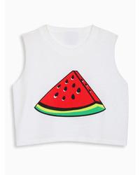 Choies White Crop Top With Watermelon Print