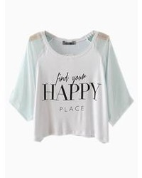 White happy print crop top with mesh sleeves medium 45612