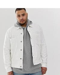 ASOS DESIGN Plus Denim Jacket With Purple Stripe In White
