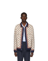 Gucci White Denim Oversized Gg Print Jacket