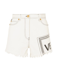 Versace Frayed Printed Denim Shorts