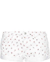 Current/Elliott The Girlfriend Printed Stretch Denim Shorts White