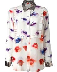 MSGM Contrast Collar Printed Shirt