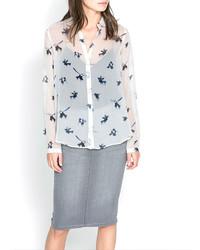 ChicNova Retro Style Swallow Print White Blouse With Polo Collar