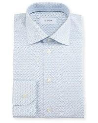 Slim fit poppy print dress shirt whiteblue medium 3678700
