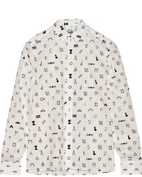 Symbols printed cotton jacquard shirt medium 358980