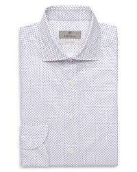 Canali Trim Fit Geometric Print Dress Shirt