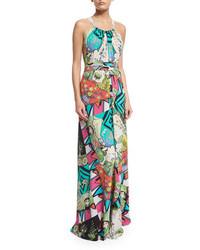 Etro Halter Neck Arcade Print Gown Turquoisewhite