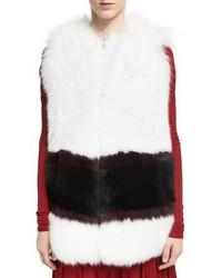 Graphic stripe fox fur vest medium 4984230
