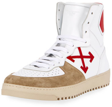 ... Off-White Co Virgil Abloh 70s Leather Suede High Top Sneaker Whitered  ...