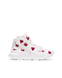 Burberry Heart Print Leather High Top Sneakers