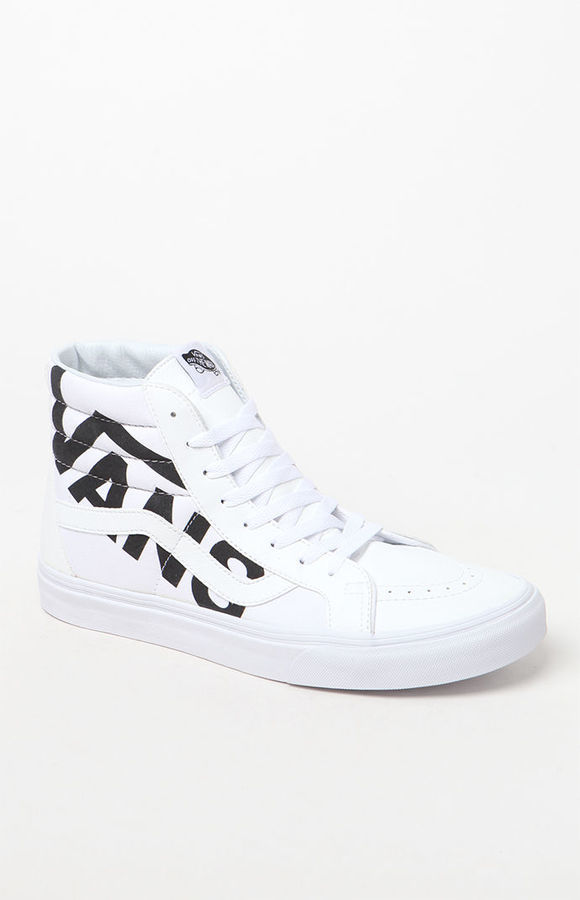 $65, Vans Sk8 Hi Reissue Logo White Black Shoes