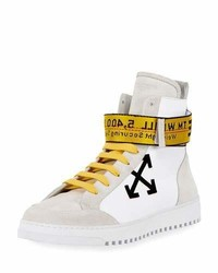 Off-White Suede Leather High Top Sneakers Whiteblack