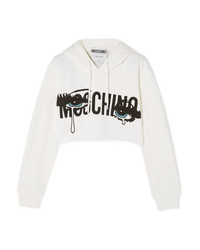 Moschino Cropped Printed Stretch Cotton Jersey Hoodie