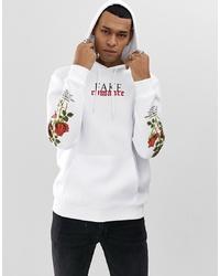 YOURTURN Hoodie In White With Rose Print Sleeves