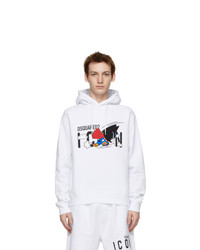 DSQUARED2 White Mascot Cool Hoodie