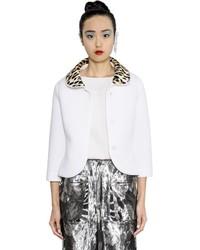 Maison Margiela Leopard Printed Collar Neoprene Jacket