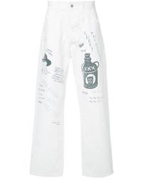 White Print Jeans