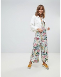 Mango All Over Floral Strappy Jumpsuit In Multi