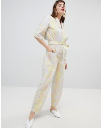 Mango Organic Cotton Jumpsuit In Abstract Floral Print