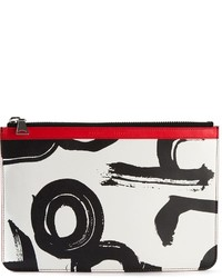 White Print Leather Clutch