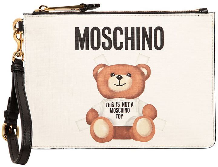 3e83114f939 ... Clutches Moschino Teddy Bear Tab Print Faux Leather Pouch ...