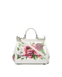 Dolce & Gabbana White Red And Green Sicily Rose Print Leather Handbag