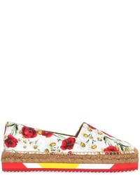 White Print Leather Espadrilles