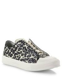 Alexander McQueen Leopard Printed Leather Low Top Sneakers