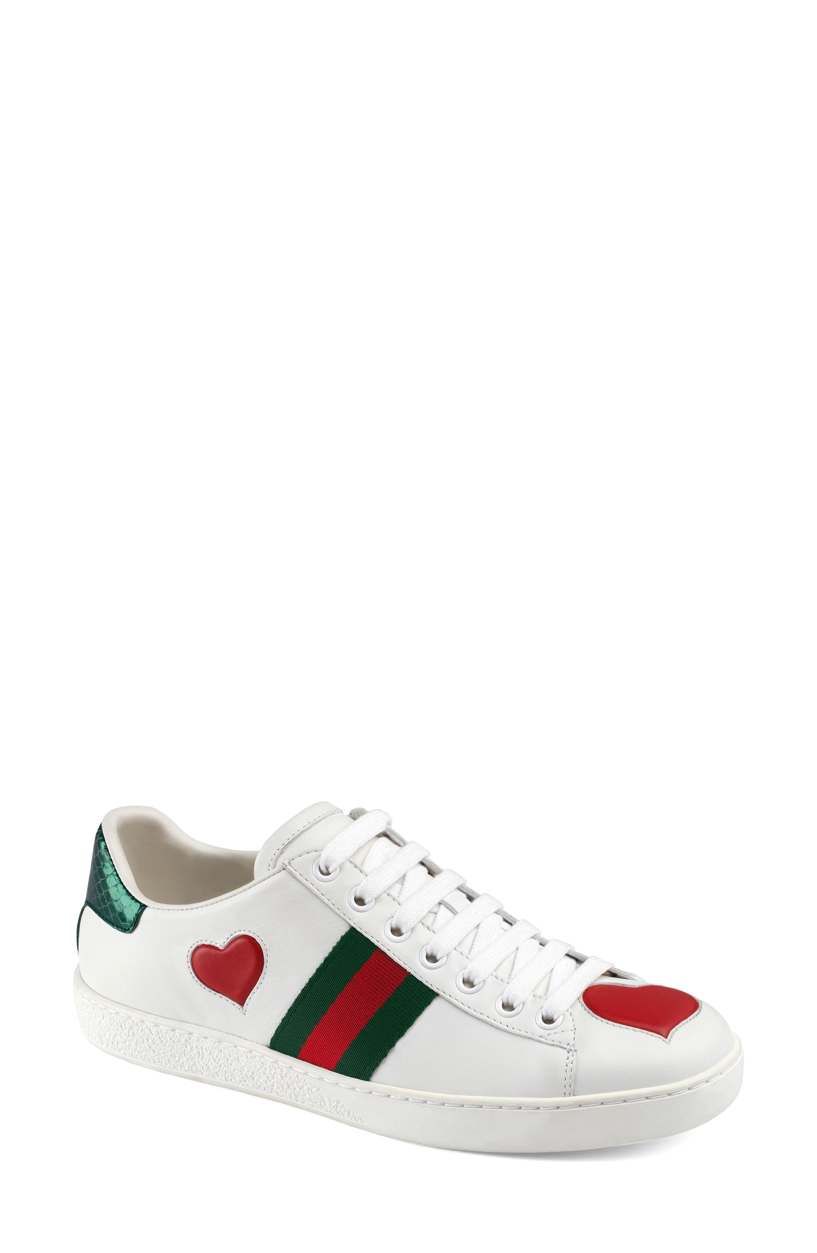 b34706e7ae0 ... Leather Low Top Sneakers Gucci New Ace Heart Sneaker