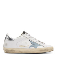 Golden Goose White And Blue Sneakers
