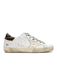 Golden Goose White And Gold Giraffe Sneakers