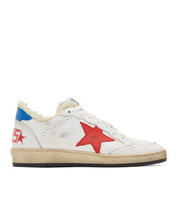Golden Goose White And Red Shearling B Sneakers