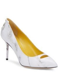 Charlotte Olympia Ada Marble Print Leather Pumps