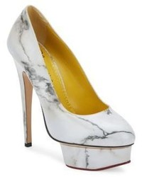 Charlotte Olympia Marble Print Dolly Leather Platform Pumps