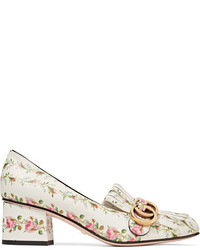 Marmont fringed floral print loafers white medium 4267820