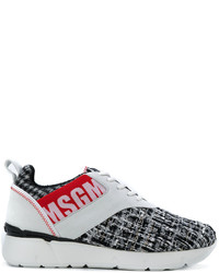 MSGM Logo Print Lace Up Sneakers