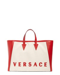Versace Cabas Logo Canvas Leather Tote