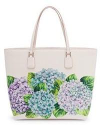 Dolce & Gabbana Hydrangea Print Leather Tote