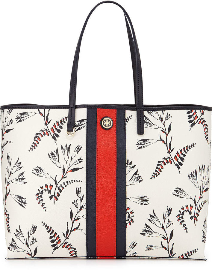 6a72c685835 Tory Burch Kerrington Floral Print Tote Bag White, $295 | Neiman ...