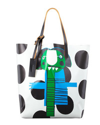 Marni Girl Print Faux Leather Shopping Bag Greenblue