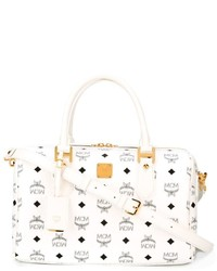 MCM Visetos Heritage Boston Logo Print Tote Bag