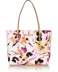 Diane von Furstenberg Ready To Go Leather Trimmed Printed Faux Leather Tote