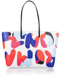 Fendi Roll Printed Textured Leather Tote White