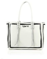 Lanvin Small Contouring Print Leather Tote
