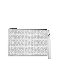 Burberry Perforated Logo Leather Zip Pouch
