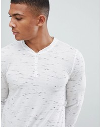 ASOS DESIGN Super Longline Long Sleeve T Shirt With Grandad Neck In Interest Fabric