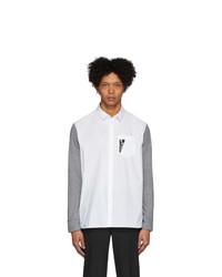 Neil Barrett Grey And White Bicolor Thunderbolt Shirt